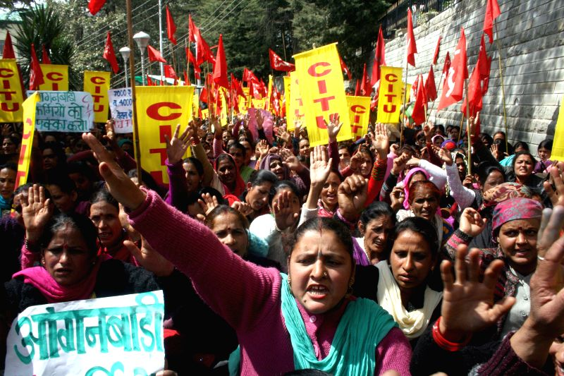 Anganwadi workers affiliated to CITU stage a demonstration to press for their demands in Shimla, on March 17, 2015.