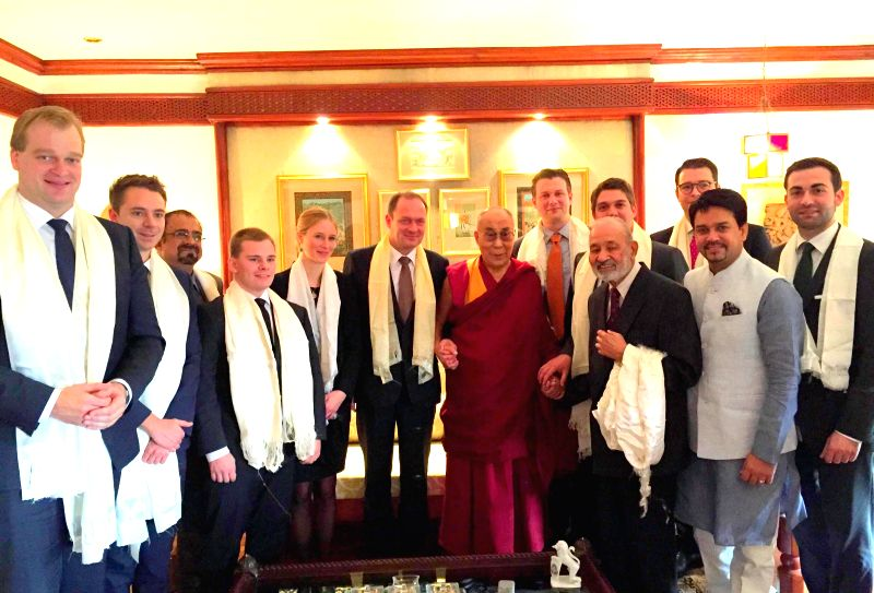 Bhartiya Janata Yuva Morcha national president and MP Anurag Thakur led a German delegation to meet Tibetan Spiritual Leader Dalai Lama in Shimla on Nov. 20, 2014.