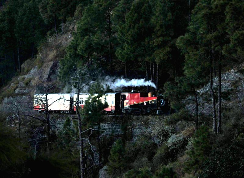 British-built 1905 steam engine runs on Kalka -Shimla UNESCO World Heritage railway track,  in Shimla. Northern Railways' only existing narrow-guage steam engine, the KC-520, has been brought