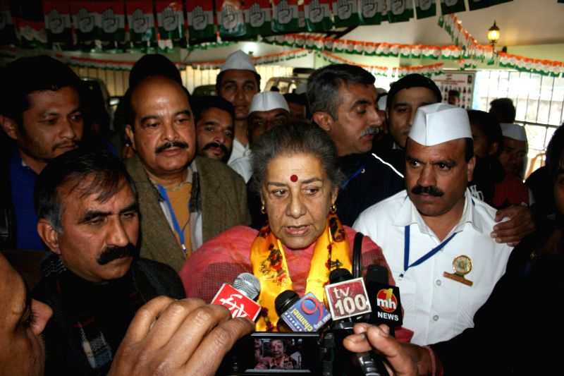 Congress General Secretary Ambika Soni addresses journalists  in Shimla, on Feb 8, 2015.