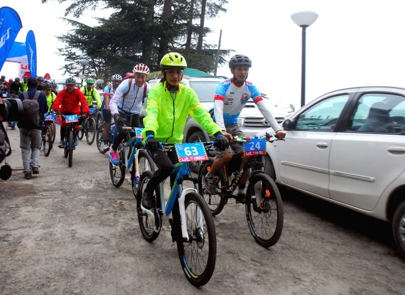 Cyclists on their way during the 4th edition of UT MTB Himalaya Shimla 2015 in Shimla, on April 4, 2015.