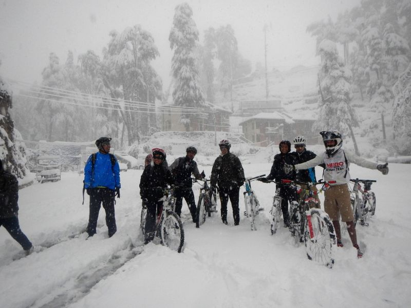 Hero Action Team after completing a 3 hour bike ride in extreme condition from Kufri to Shimla.