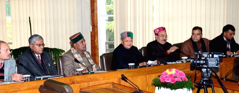 Himachal Pradesh Chief Minister Virbhadra Singh during a meeting with state legislators  in Shimla, on Jan 23, 2015.