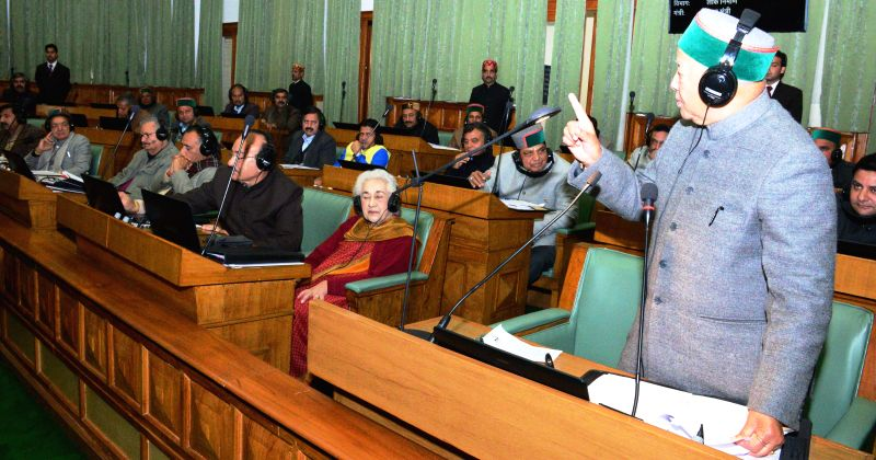 Himachal Pradesh Chief Minister Virbhadra Singh replies to the questions posed by the legislators during the question hour of the Haryana assembly in Shimla, on March 12, 2015. - Virbhadra Singh
