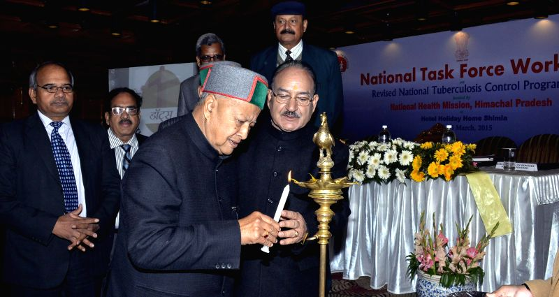 Himachal Pradesh Chief Minister Virbhadra Singh during inauguration of National Task Force Workshop on the Revised National Tuberculosis Control Programme in Shimla, on March 14, 2015.