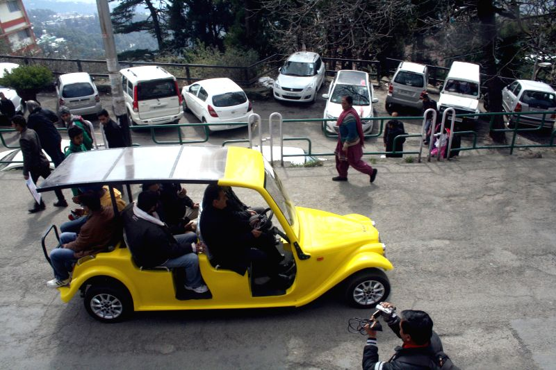 Shimla Municipal Corporation as a part of an environment and pedestrian friendly measure is conducting trail run of battery operated Golf Cart on Shimla roads on March 5, 2015.
