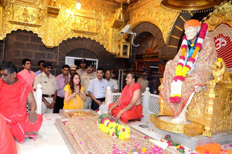 Actress and politician Jaya Prada during her visit to Saibaba`s Samadhi in Shirdi, Ahmednagar district of Maharashtra on April 11, 2015.