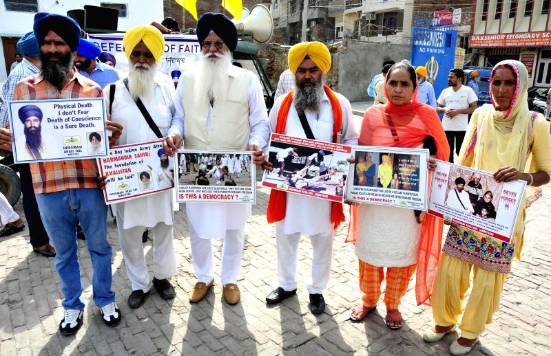 Shiromani Akali Dal activists participate in a rally organsied on the eve of anniversary of Operation Bluestar in Amritsar, on June 5, 2017.