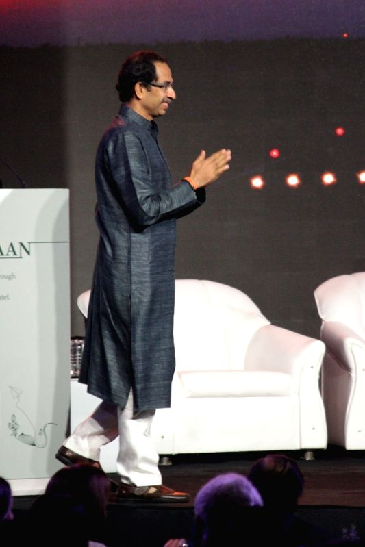 Shiv Sena chief Uddhav Thackeray during the launch of Nationalist Congress Party (NCP) leader Praful Patel's pictorial biography Udaan in Mumbai on May 14, 2017. - Praful Patel