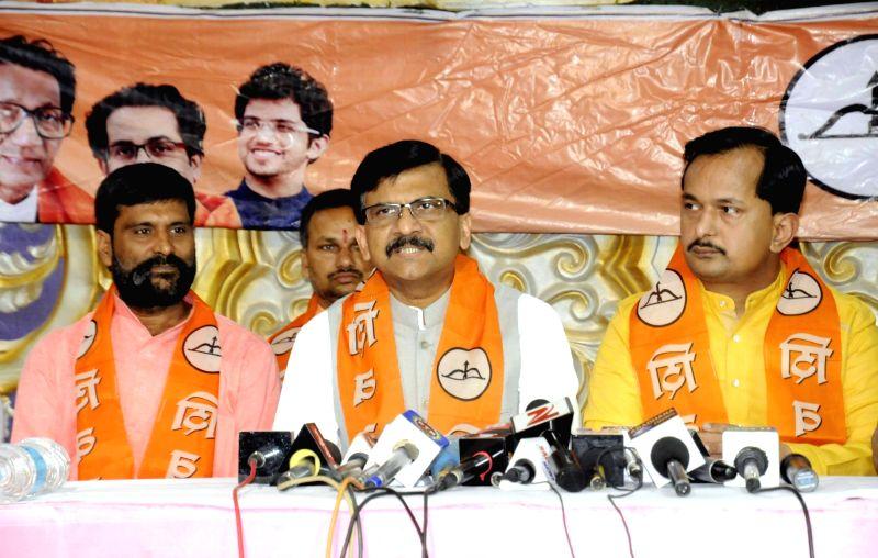 Shiv Sena leader Sanjay Raut during a press conference in Patna on Oct 30, 2015.