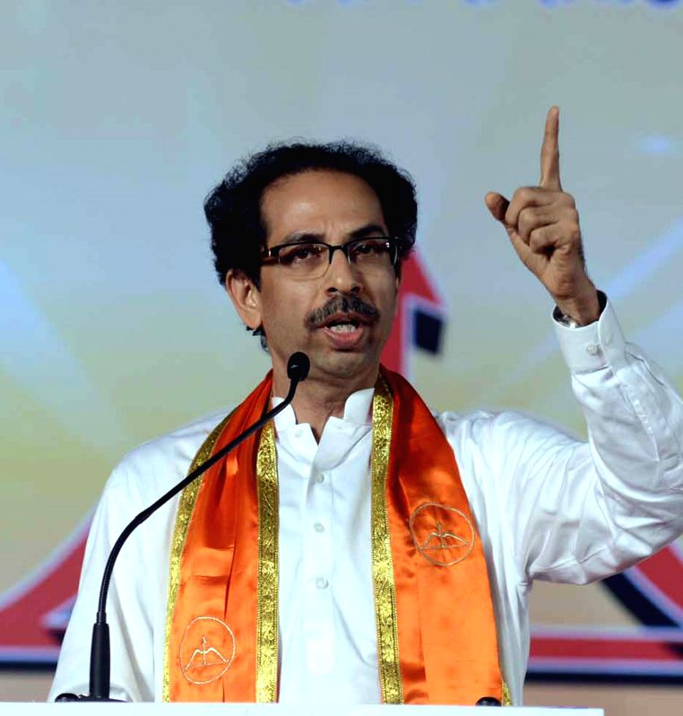 Shiv Sena president Uddhav Thackeray campaigns for party's candidate for 2014 Lok Sabha Election from Mumbai South constituency, Arvind Sawant in Mumbai on April 16, 2014.