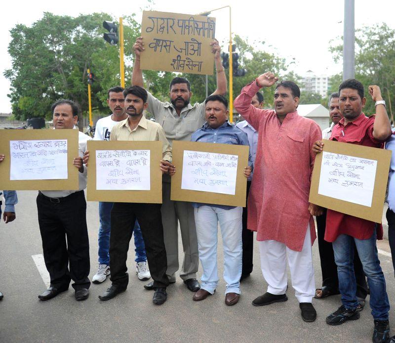 Shiv Sena workers stage a demonstration as a Pakistani delegation visits Ahmedabad to study Sabarmati Riverfront on July 21, 2014. (Photo : IANS)