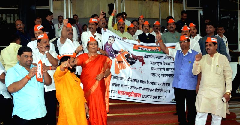 Shiva Sena MLAs stage a demonstration against formation of a separate Vidarbha state outside the Maharashtra Legislative Assembly in Mumbai, on Aug 2, 2016.