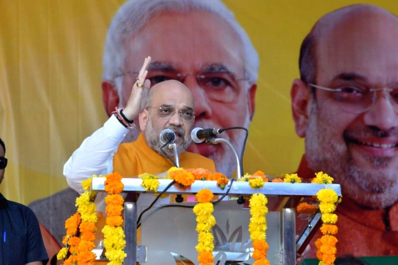 BJP chief Amit Shah addresses during a party meeting in Shivpuri, Madhya Pradesh on Oct 9, 2018(Image Source: IANS/BJP)