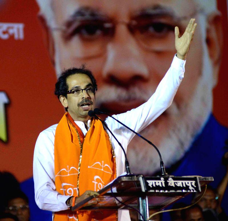 Shivsena chief Uddhav Thackeray addressing a rally in support of Shivsena, BJP and RPI candidates at Shirdi, Maharashtra on April 12, 2014.