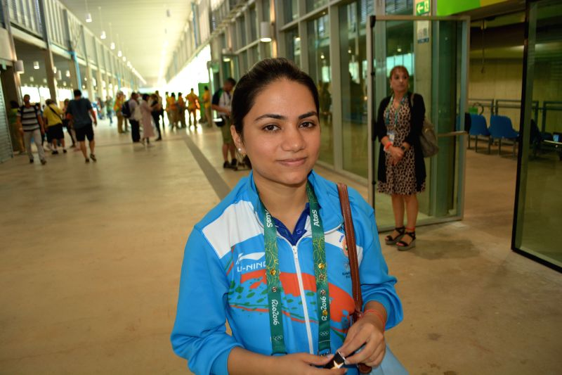 Shooter Apurvi Chandela after getting eliminated in the 10 metre air rifle competition
