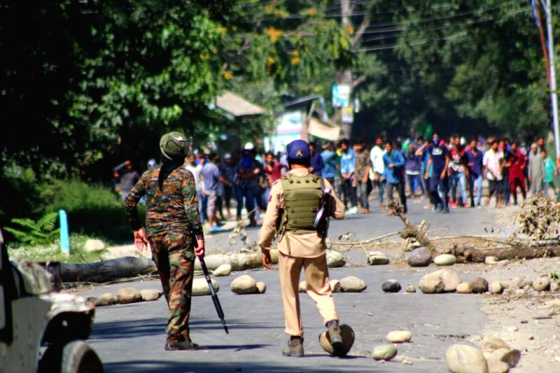 : Shopian: Clashes erupt between the security forces and protesters following an anti-terror operation that killed five militants, a civilian and injuring two others in Jammu and Kashmir Shopian ...