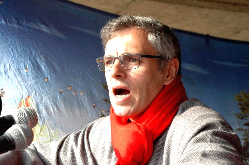 Jammu and Kashmir Chief Minister Omar Abdullah addresses during a rally in Shopian district of Jammu and Kashmir on Dec 11, 2014. - Omar Abdullah