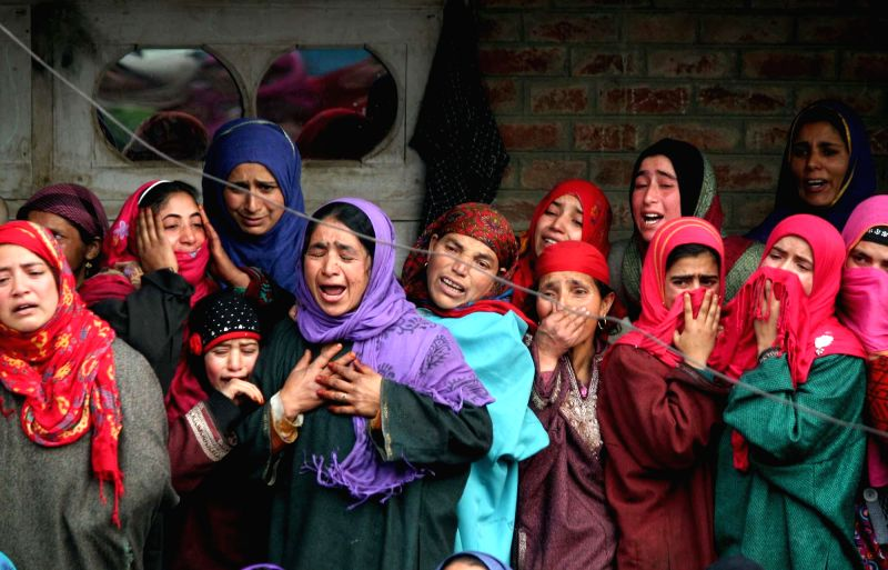 Relatives of National Conference Sarpanch Mohammad Sultan Bhat, who was shot dead by unidentified persons in Shopian district of Jammu and Kashmir Sunday (30th November), mourn his death on .