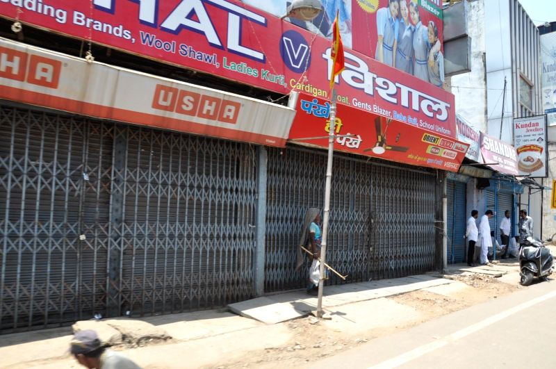Shops are closed during Jharkhand bandh called by all opposition parties to protest against Jharkhand government's Domicile policy in Ranchi on May 14, 2016.