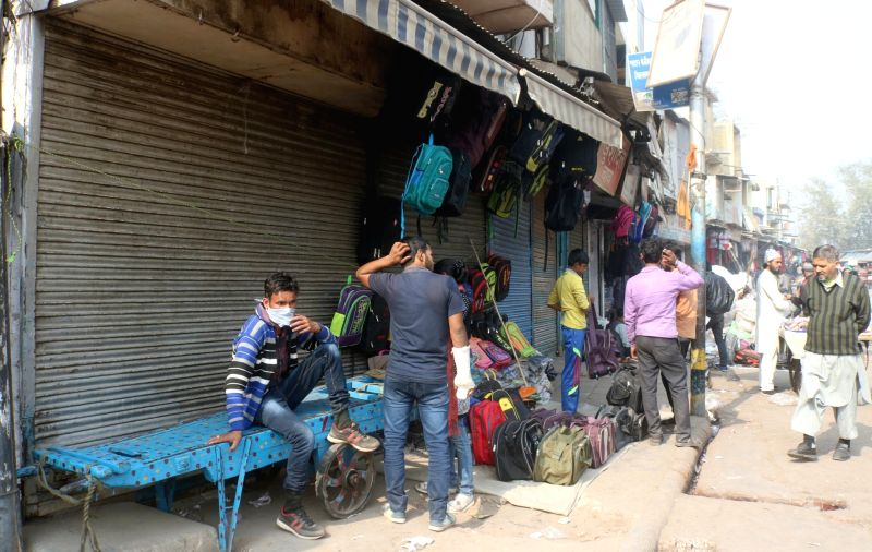 Shops remain closed at Sadar Bazar as traders down shutters protesting the sealing drive in New Delhi on Feb. 2, 2018.