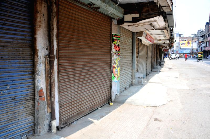 Shops remain closed during a strike called by Hindu organisations in Amritsar on July 21, 2014.