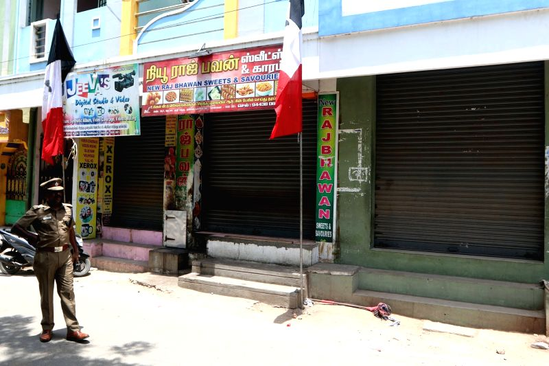 Shops remain shut and security beefed up  after the convoy of Amma Makkal Munnetra Kazhagam leader T. T. V. Dhinakaran was stopped from entering RK Nagar and stones were pelted allegedly ...