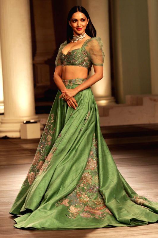 Showstopper Kiara Advani walks down the ramp wearing Shyamal and Bhumika wedding fashion inspiration designs, at India Couture Week 2018, in New Delhi, on July 29, 2018. - Kiara Advani