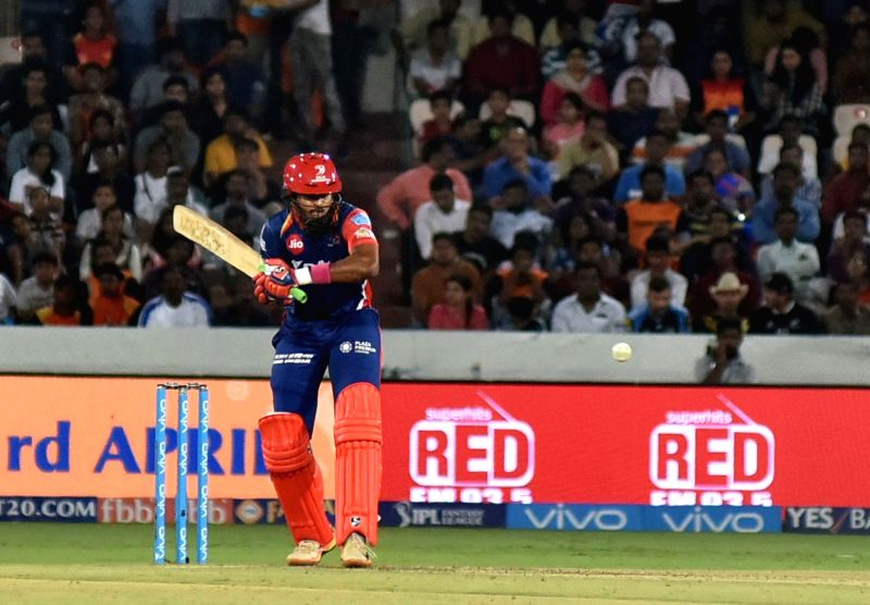 Shreyas Iyer of Delhi Daredevils in action during an IPL 2017 match between Sunrisers Hyderabad and Delhi Daredevils at Rajiv Gandhi International Stadium in Hyderabad on April 19, 2017.