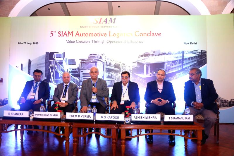 SIAM Logistics Group Chairman and Tata Motors Project er Prem K Verma addresses during the 5th SIAM Automotive Logistics Conclave in New Delhi on July 27, 2018.