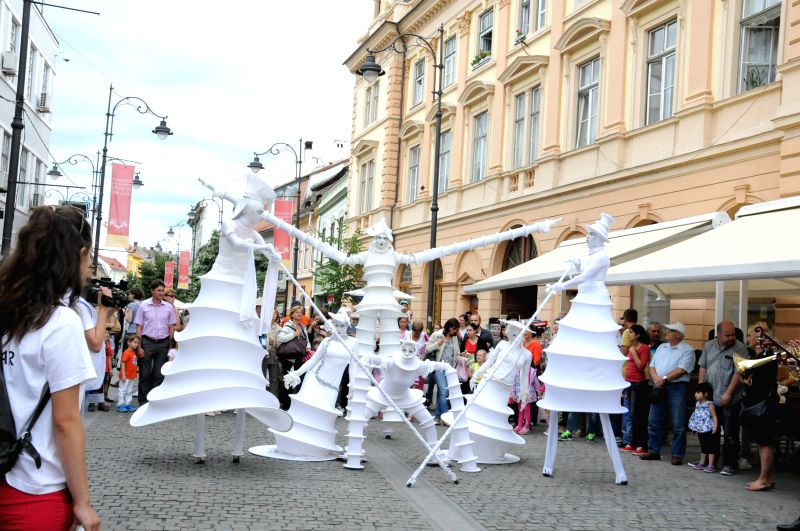 A performance is staged at the 22nd International Theater Festival in Sibiu, Romania, June 17, 2015. The 10-day festival started on June 12.
