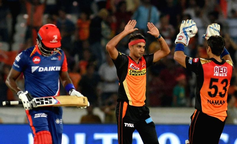 Siddarth Kaul of Sunrisers Hyderabad celebrates fall of a wicket during an IPL 2017 match between Sunrisers Hyderabad and Delhi Daredevils at Rajiv Gandhi International Stadium in ...