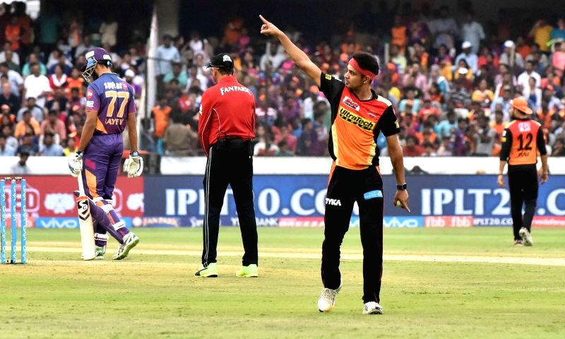 Siddarth Kaul of Sunrisers Hyderabad during an IPL 2017 match between Sunrisers Hyderabad and Rising Pune Supergiant at Rajiv Gandhi International Stadium in Hyderabad, on May 6, 2017.