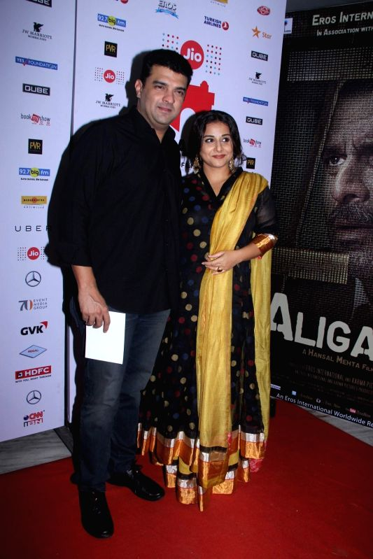 Siddharth Roy Kapoor, MD, Disney India with his wife and actress Vidya Balan during the premiere of film Aligarh at Jio MAMI 17th Mumbai Film Festival in Mumbai, on Oct 30, 2015. - Vidya Balan and Siddharth Roy Kapoor