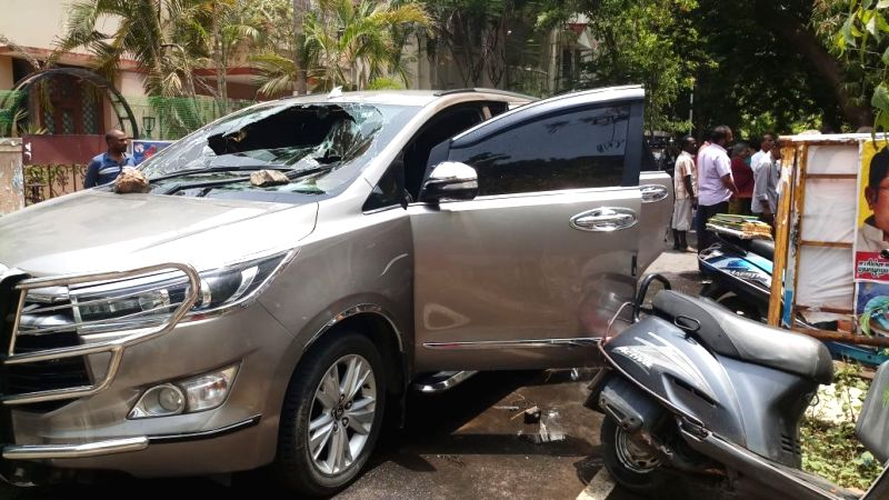Sidelined AIADMK leader T T V Dhinakaran's car that got damaged in an attack in Chennai on July 29, 2018. Reportedly a petrol bomb was hurled at the vehicle.