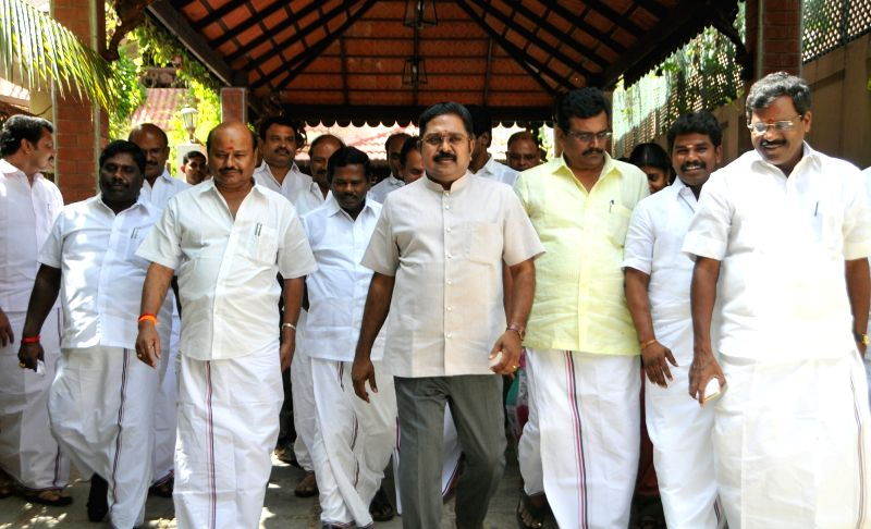 Sidelined AIADMK leader T.T.V. Dinakaran at his residence, in Chennai on June 14, 2018. In a breather to the AIADMK government, the Madras High Court on Thursday gave a split verdict in the ... - P. Dhanapal and Indira Banerjee