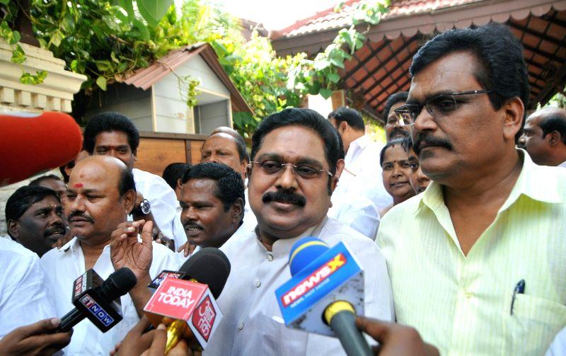 Sidelined AIADMK leader T.T.V. Dinakaran talks to media in Chennai on June 14, 2018.