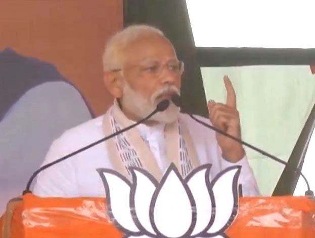 Sidhi: Prime Minister Narendra Modi addresses a public rally in Sidhi, Madhya Pradesh, on April 26, 2019. (Photo: IANS)