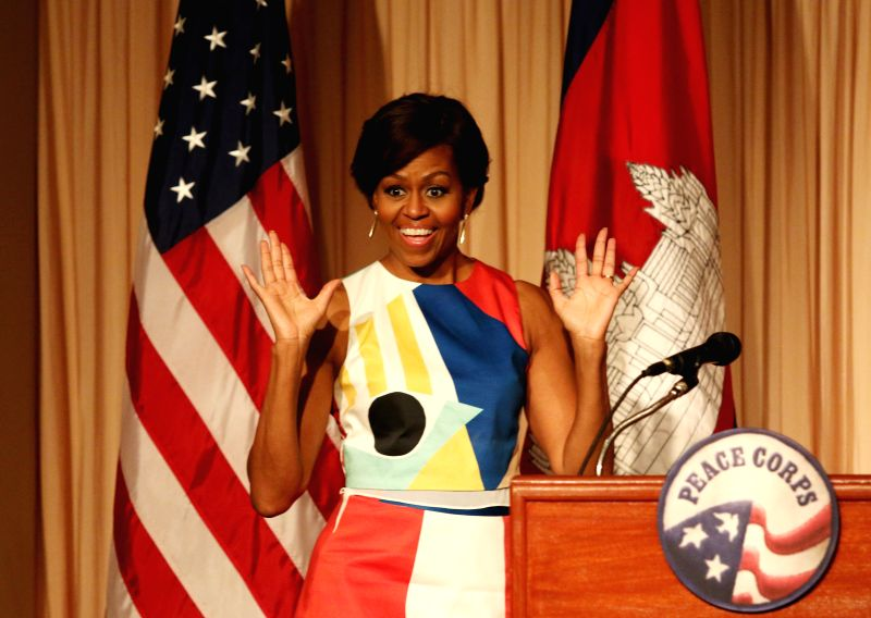 """U.S. first Lady Michelle Obama speaks at the event """"Let Girls Learn"""" in Siem Reap, Cambodia, March 21, 2015. Michelle Obama on Saturday met Cambodian ..."""