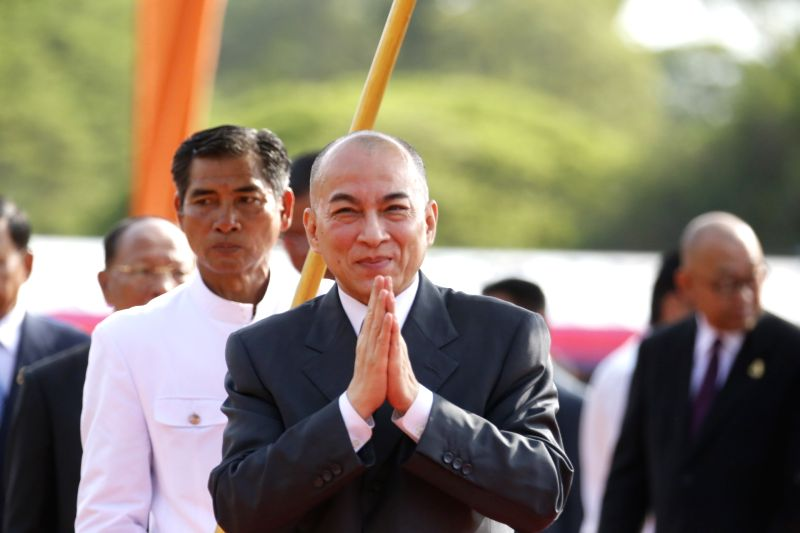 SIEM REAP, May 24, 2016 - Cambodian King Norodom Sihamoni (Front) attends a royal ploughing ceremony in Siem Reap province, Cambodia, May 24, 2016. Cambodia on Tuesday observed the ancient royal ...
