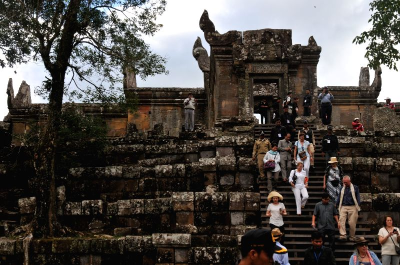 Siem Reap: United Nations Educational, Scientific and Cultural Organization (UNESCO) representatives and foreign diplomats from over 20 countries visit Preah Vihear Temple in Preah Vihear province, ..