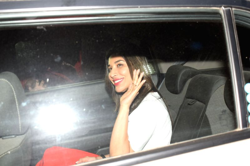 """Signer Sophie Choudry at the special screening of film """"October"""" in Mumbai on April 12, 2018."""