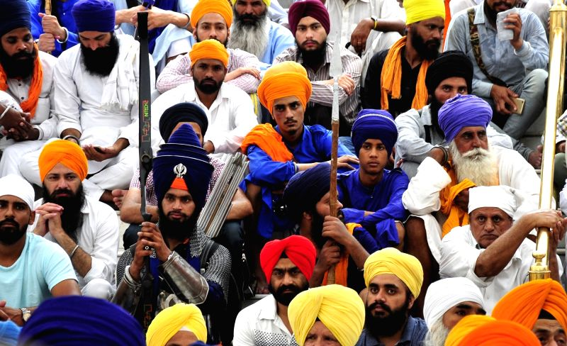Sikh Nihangs participate in a programme organised to pay tribute to those killed in Operation Bluestar in Amritsar, on June 6, 2017.