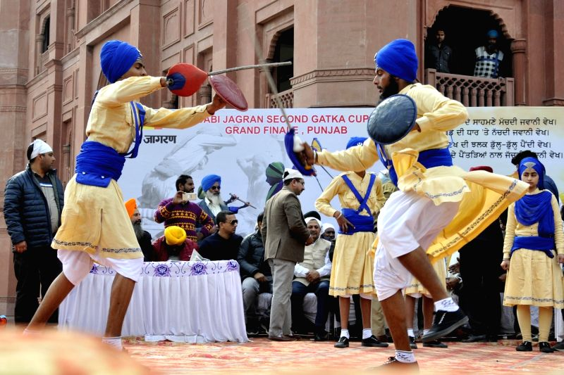 Sikh Nihangs perform during a Gatka competition in Amritsar on Jan 31, 2018.