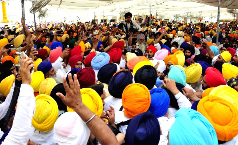 Sikhs assemble to pay tribute to those killed in Operation Bluestar in Amritsar, on June 6, 2017.
