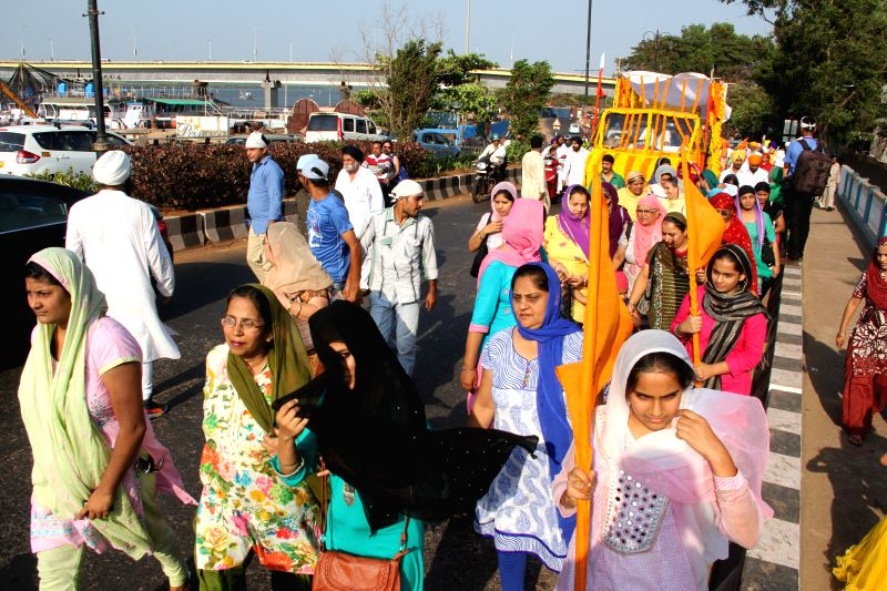 Sikhs participate in a procession organised on Baisakhi in Panaji on April 14, 2014.