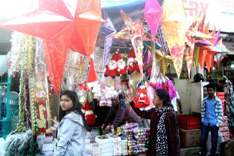People busy with Christmas shopping in Siliguri, West Bengal on Dec 22, 2014.