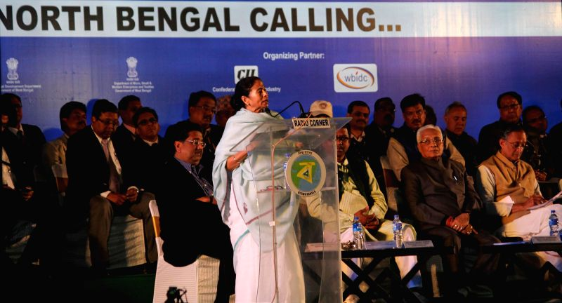 West Bengal Chief Minister Mamata Banerjee addresses during the North Bengal Industry Meet 2015 at Uttarkanya in Siliguri on Jan 19, 2015.