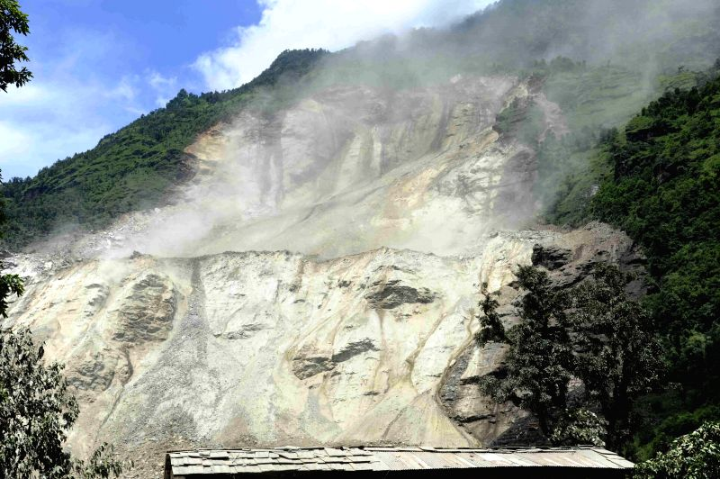 Photo taken on Aug. 2, 2014 shows the landslide that occurred in Sindupalchowk, Nepal. The landslide hit Nepal's eastern hilly region at around 2 a.m. ...