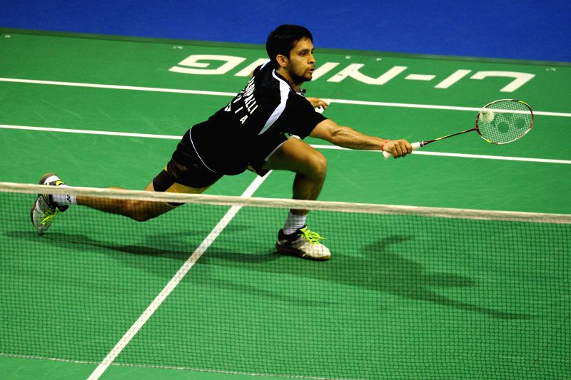 Kashyap Parupalli of India competes during his men's singles quarterfinal match against Brice Leverdez of France at the 2015 OUE Singapore Open in Singapore, ...